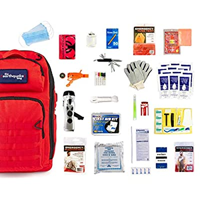 Complete Earthquake Bag - Emergency Kit for Earthquakes, Hurricanes, Wildfires and other Disasters - Built for 1 Person for a 3 Day Period from Redfora