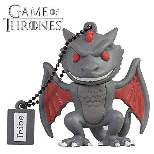 Tribe Game of Thrones Drogon USB Stick 16GB Speicherstick 2.0 High Speed Pendrive Memory Stick Flash Drive, Lustige Geschenke 3D Figur, USB Gadget aus Hart-PVC mit Schlüsselanhänger – Grau