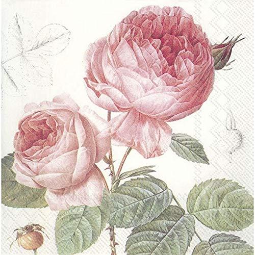 IHR Elisabeth Papierservietten, Rosenmotiv, 33 cm, quadratisch, 20 Stück