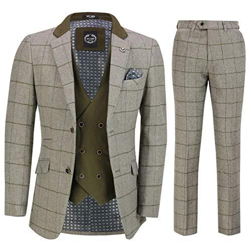 Xposed Männer Retro-3 Stück Tweed mit Fischgrätmuster Beige Grün Überprüft eleganten Maßgeschneidert Anzug[SUIT-EVAN-GREY-36]