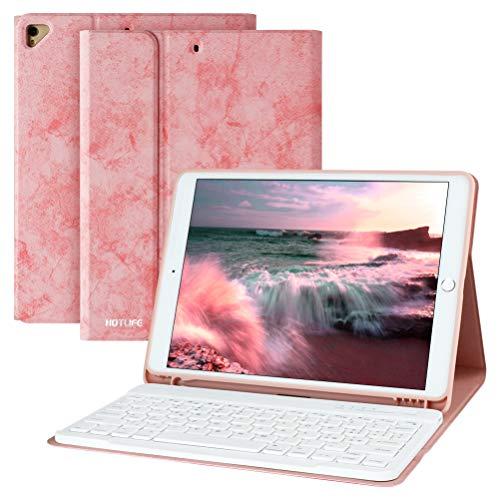 Tastiera per iPad 10.2 2021 9a Generazione iPad 10.2 2020 8a Generazione iPad Pro 10.5 2017 iPad Air 3, Cover Tastiera Italiana Staccabile Bluetooth - Custodia Magnetico con Slot per Penna (Rosa)