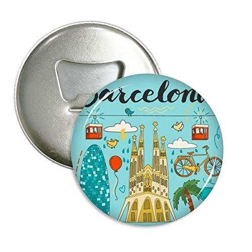 Barcelona España sagrada familia redondo abridor de botellas nevera Imán Pins Badge...