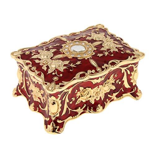 Milageto Organizador de La Caja de La Caja de Almacenamiento de Las Baratijas del Cofre del Tesoro de La Flor del Vintage - Rojo