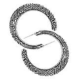 YAZILIND retro media luna tallada aro pendientes mujer Bohemia estilo joyería (plata)