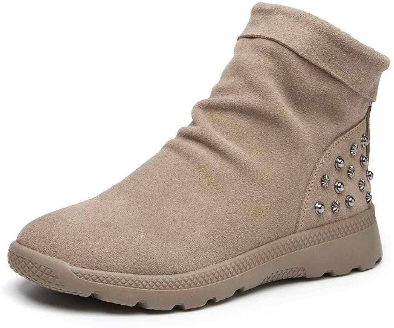 HOESCZS Damenschuhe Einzelstiefel Damen Herbst Und Winter Winter Damen Stiefel Fashion Wild Rivet Short Stiefel  Factory Outlet Online-Rabatt-Verkauf