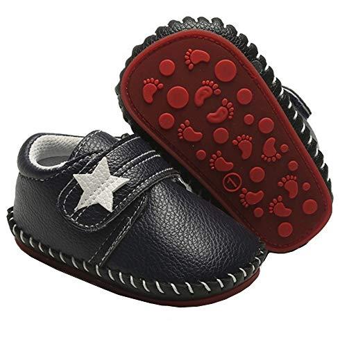 Geagodelia - Zapatos de paseo con fondo rígido de piel sintética para recién nacido, suela de goma para primeros caminos, zapatillas para niño Azul Size: 6-12 mesi
