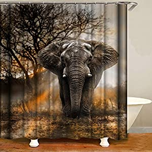 Shocur Grey Elephant Shower Curtain, Tropical African Large Animals and Autumn Sunset Forest Trees Scenery, 72 x 72 Inches Mens Theme Bath Curtain, Polyester Fabric Bathroom Decor Set with 12 Hooks