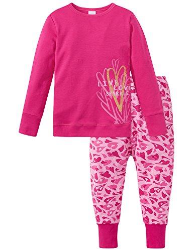 Schiesser Mädchen Md lang Zweiteiliger Schlafanzug, Rot (Pink 504), 128