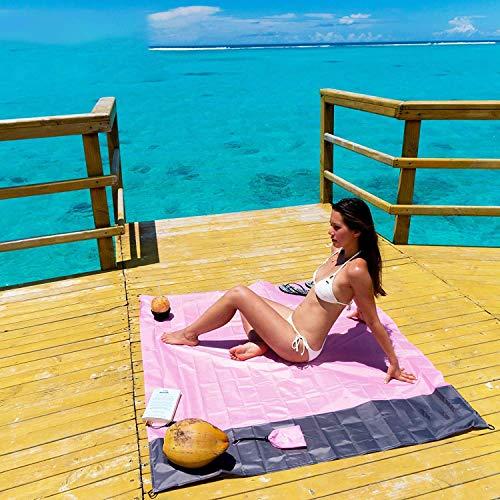 Wohlstand Stranddecke,Picknickdecke Wasserdicht 140 x 200 cm,mit Tasche für Strand, Camping, Wandern und Grasausausflüge (Pink und Grau)