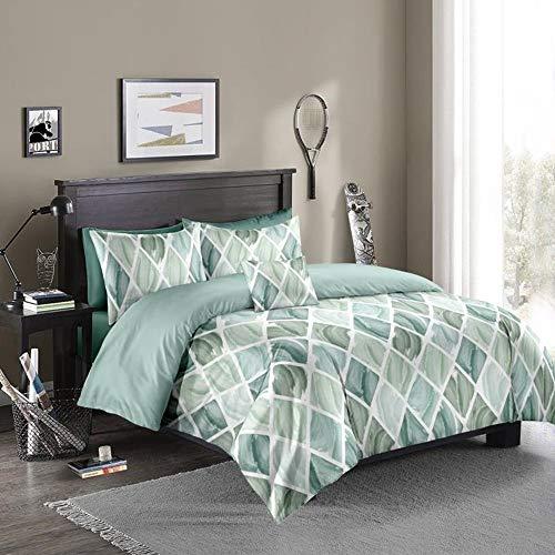 OKJK Juego de funda de edredón con estampado geométrico 3D con funda de almohada, juegos de cama nórdicos, tamaño king individual, doble, Queen (sin sábana) (verde, 230 x 260 cm)