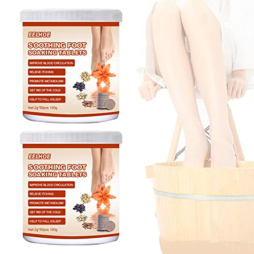 KKJP 2pcs Foot Soaking Tablets, Foot Soak Chinese Herbal Foot Bath Spa Boost Immunity, Pedicure Foot Spa for Eliminate Fatigue Improve Sleeping