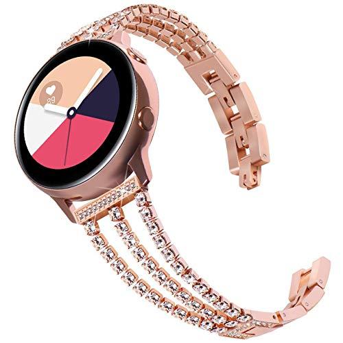 DEALELE Armbands Kompatibel mit Galaxy Watch 42mm / Active/Active 2 / Galaxy 3 41mm, 20mm Luxus Diamant Edelstahl Metall Ersatz Armband für Samsung Gear Sport/Huawei GT2 42mm, Roségold