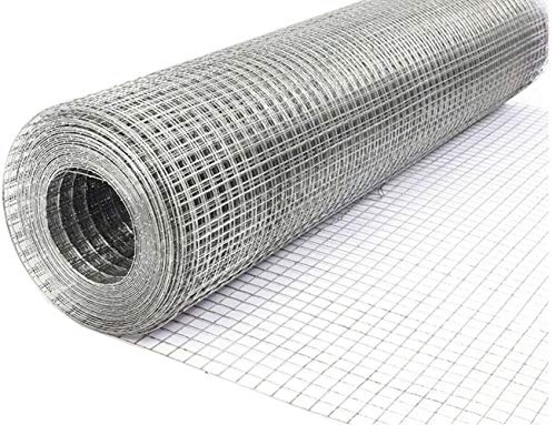 24in x 55ft Hardware Cloth, Hardware Cloth 23 Gauge Galvanized 1/4Inch Welded Cage Wire for Poultry Enclosure Plant Supports Doors Window Wire Fence Rabbit Chicken Run Fence (23 Gauge)