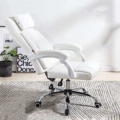 Krzesła Komputer Dom Wypoczynek Zagłówek Zdejmowany PU Biuro Obrotowe 160 & deg;Fotel klęczący (kolor: biały)