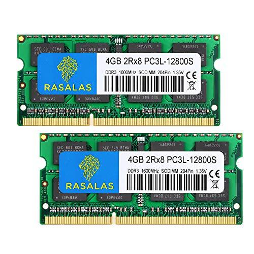 Rasalas 8GB Kit (2x4GB) PC3-12800 DDR3L 1600MHz SODIMM, 4GB DDR3 1600 2Rx8 PC3L-12800S 1.35V 204-Pin CL11 Dual Rank Laptop RAM Memory
