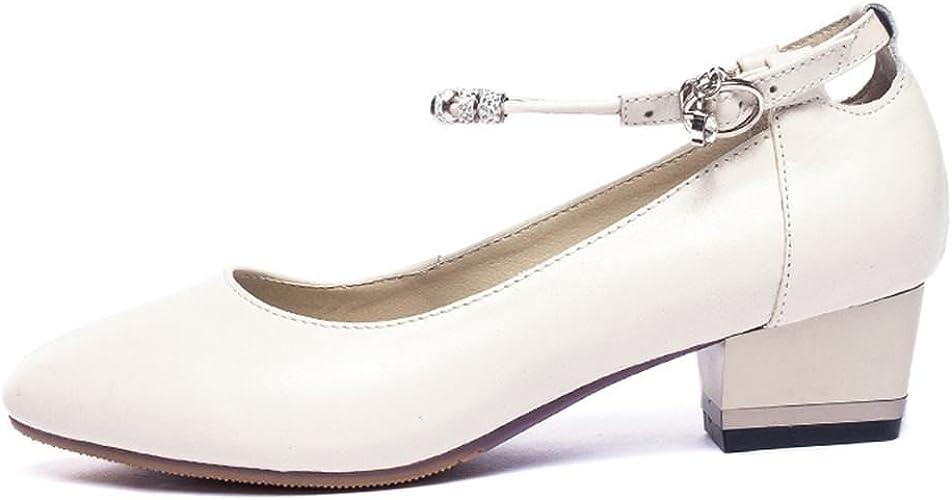 BYLE Sangle de Cheville Sandales en Cuir Chaussures de Danse Modern'Jazz Samba Femmes Adultes en Cuir à Talons Hauts, Chaussures de Danse Mou, Blanc