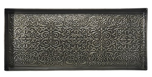 "HF by LT Enchanted Scroll Pattern Metal Boot Tray, 30"" by 13"", Antique Zinc Finish"