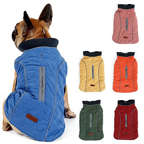 TFENG Reflektierend Hundejacke für Hunde, Hundemantel Warm gepolstert Puffer Weste Welpen Regenmantel mit Fleece (Blau, Größe M)