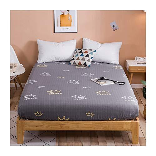 MZP Premium Topper Boxspringbett Spannbettlaken Superweiches Polyester Baumwolle Spannbetttuch bis 25cm Topperhöhe Bettlaken Einfarbig Fitted Sheet (Color : Gray Crown, Size : 120x200cm)