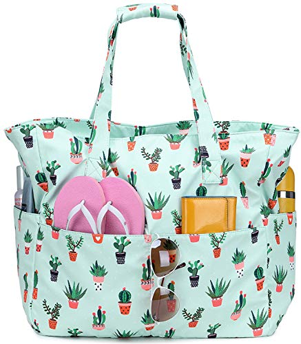 Beach Tote Pool Bags Waterproof Women Ladies Extra Large Gym Tote Carry On Bag With Wet Compartment Weekender Travel (Cactus Green)
