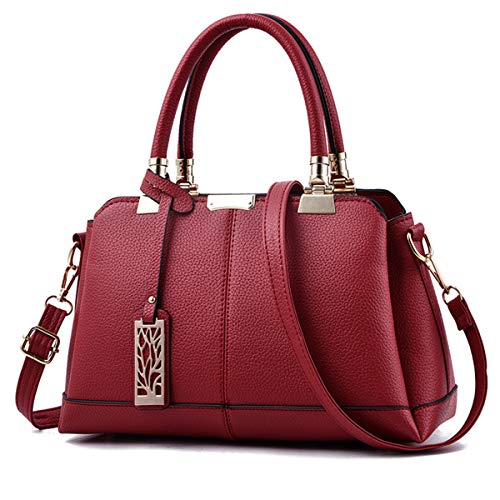 JHVYF Women Fashion Top Handle Handbag Casual Pu Leather Purse Vintage Shoulder Bag #F Wine