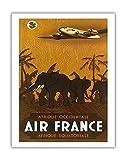 Afrique Occidentale (África Occidental) Afrique équatoriale (Äquatorialafrika)–Air France–elefantes–Vintage Retro vuelo Sociedad Viaje Póster De Vincent Guerra c.1946–Impresión (, 51cm x 66cm