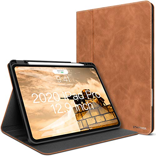 iPad Pro 12.9 Case New iPad 4th Generation Leather Case 2020/2018 with Pencil Holder - Minimalist Folio Smart Cover Auto Sleep/Wake [Supports Wireless Charging]