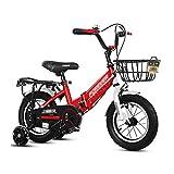 FINLR-Bicicletas infantiles Bicicleta De Niños Bicicletas para Niños Y Bicicletas para Niñas Plegables 3 Colores En Tamaño 12'14' 18'  con Estabilizadores Y Cesta (Color : Red, Size : 18 Inches)