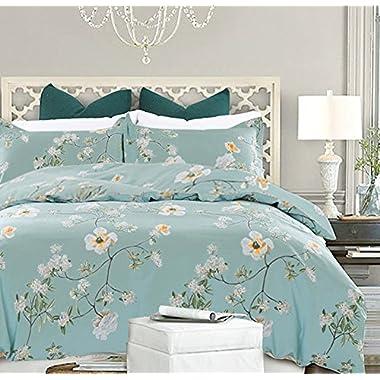 NANKO Bedding Duvet Cover Set Queen, 3 Pieces – 800-Thread Floral Hypoallergenic Microfiber Down Comforter Quite Cover Zipper & Tie for Women & Men's Bedroom, Luxury Guestroom Deco -Teal/Green