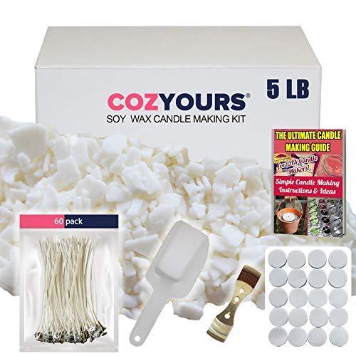 Kit de Materiales CozYours para hacer velas (cera de soja 2 kg 300 g/60 mechas de algodón/1 pieza de metal para centrar/1 herramienta para mezclar)