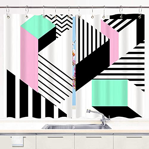 TISAGUER Cortina de Cocina,Colorido patrón geométrico de Memphis en Forma Abstracta Moderna Diversión Bauhaus,Cortinas de Bistro para Cortinas Opacas con Aislamiento térmico