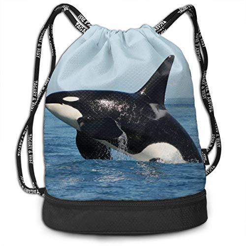 Orca Iller Whale Drawstring Sack Swim Sport Cinch Sackpack Large Capacity Beam Backpack, Home Travel Storage Use Gift for Men & Women, Girls Boys