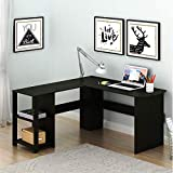 L-Shaped Home Office Wood Corner Desk, Computer Writing Desk with Shelves, Laptop Table with Drawer 51' (Espresso)