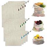 esafio12 Pcs Bolsas Compra Reutilizables Ecológicas100% AlgodónBolsa de Malla para Almacenamiento Fruta Verduras Juguetes Lavable y Transpirable, (4L,4M,4S)