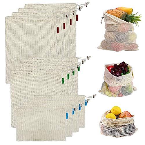 esafio 12 Stück Wiederverwendbare Gemüsebeutel Obstnetz & Gemüsenetz, 100% Baumwolle Mesh-Einkaufstasche, für Obstspielzeug Gemüse Lebensmitteleinkauf und Lagerung (4L, 4M, 4S)