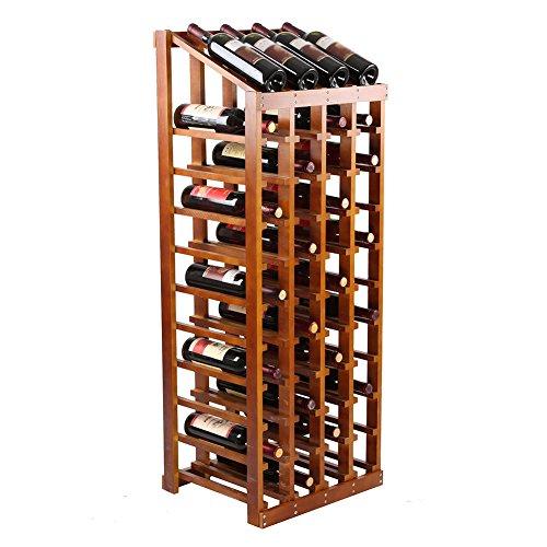 LIXIONG Casier à vin 48 bouteilles porte Bois de pin Style européen Afficher les étagères 3 couleurs, 120 * 44 * 36 cm (Couleur : Brown)