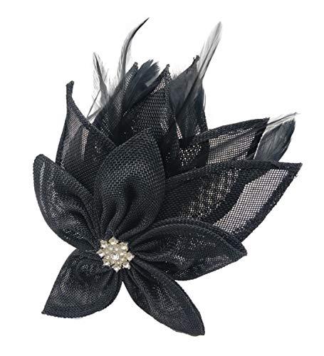 Ahugehome Fascinator Headband Hair Clip Feather Pillbox Hat Mesh Cocktail Party Wedding (KF Dark Navy Blue)