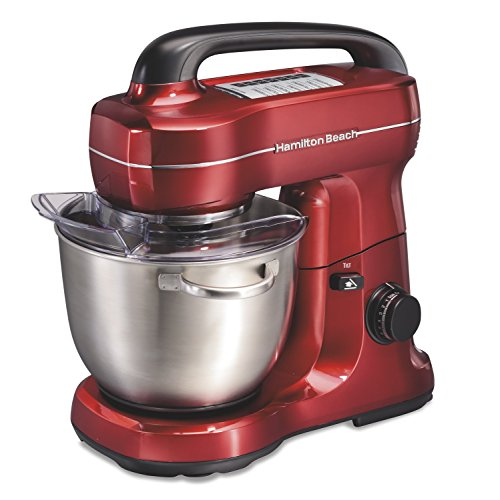 Hamilton Beach Electric Stand Mixer, 4 Quarts, Dough Hook, Flat Beater Attachments, Splash Guard 7 Speeds with Whisk, Red