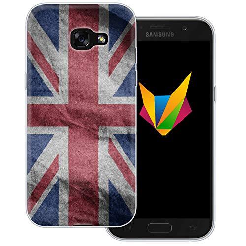dessana England transparente Silikon TPU Schutzhülle 0,7mm dünne Handy Soft Case für Samsung Galaxy A5 (2017) England Fahne