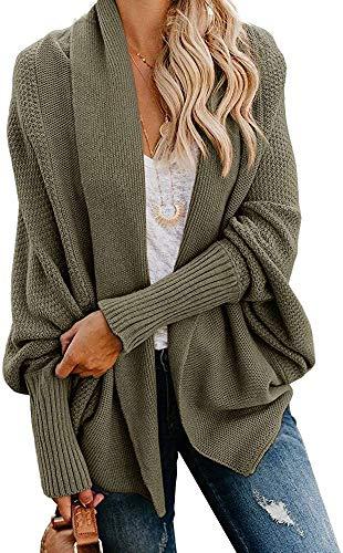 Mafulus Womens Cardigan Sweaters Oversized Open Front Batwing Chunky Knit Outwear Army Green