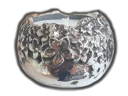 Der Perlenspieler® - Shabby Kerzenschmelzer Edel-Tischlicht mit aufwendigem Design in Antiksilber-Look- ca.12 cm x ca. 12 cm