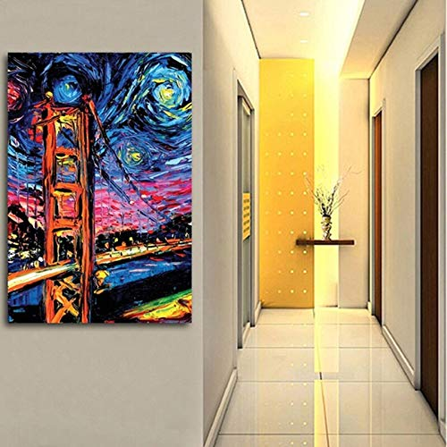wopiaol Posters and prints Van Gogh's starry night for Living Room Bedroom Home Decorations50x70cm(No frame)