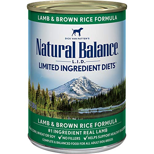 Natural Balance L.I.D. Limited Ingredient Diets Wet Dog Food, Lamb & Brown Rice Formula, 13 Ounce Can (Pack of 12)