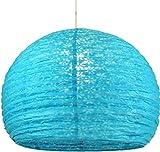 Guru-Shop Pantalla de Papel Lokta Semicircular, Lámpara Colgante Corona Ø 40 cm - Turquesa, PapeldeLokta, Lámparas de Techo Asiáticas Lámparas de Papel Tela