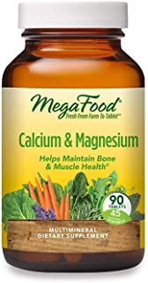 MegaFood, Calcium & Magnesium, Helps Maintain Bone and Cardiovascular Health, Vitamin and Dietary Supplement Vegan, 90 Tab...