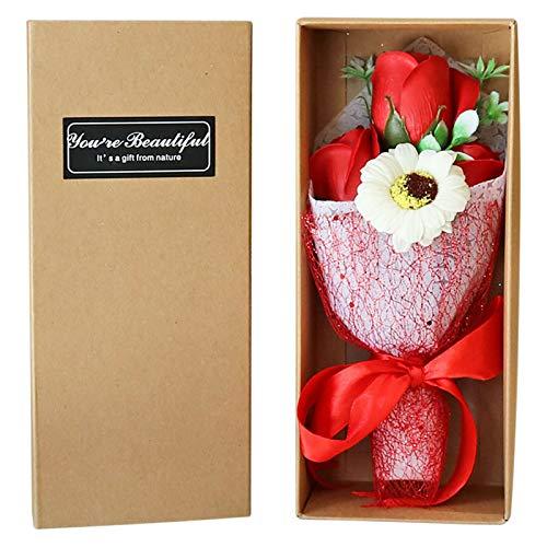 Delisouls Flor de jabón artificial hecha a mano, ramo de regalo romántico decorativo para el día de San Valentín, aniversario del día de la madre