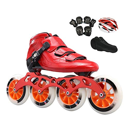 Why Should You Buy Sljj Adult Professional Red Inline Speed Skates, 490-110MM Wheels Children's Carb...