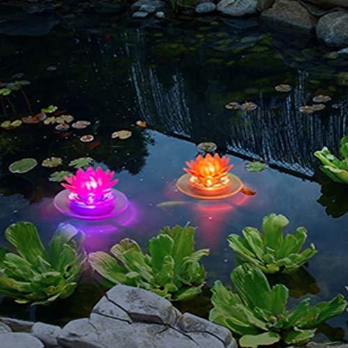 pearlstar Schwimmende Solar Pool lichter Farbwechsel LED Leuchten für Außenbereich Gartenbeleuchtung Nachtlichter für Teich Pool Brunnen, wasserdichte Blume Dekoration, Lotus-2 pacs