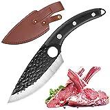 Cuchillo de Cocina, Cuchillo de Carnicero para Deshuesar con Agujero, Cuchillo de Carne Afilado con Vaina, Mango Cómodo, Cuchillo de Chef Antioxidante para Cocina / Restaurante (negro)