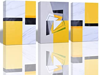 A Cup of Tea Geometry Abstract Art Unframed Oil Painting on Canvas 100% Hand Painted Yellow Artwork Modern Wall Art Decor for Living Room Office Decoration 16x24 Inch 3Pcs